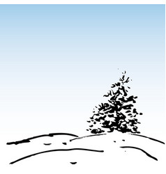 winter background ink fir and snow vector image