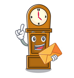 with envelope grandfather clock character cartoon vector image