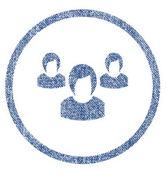 Woman group rounded fabric textured icon vector