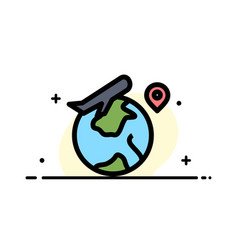 world location fly job business flat line filled vector image