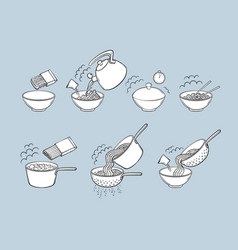 black and white noodle pasta cooking instructions vector image vector image
