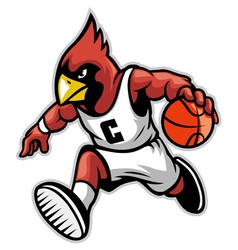Cardinal as a basketball mascot vector