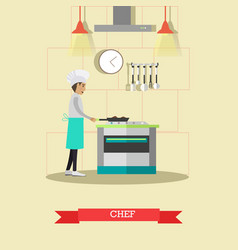 chef cooking meals in flat vector image vector image