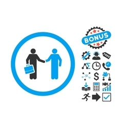 Contract Meeting Flat Icon with Bonus vector image vector image