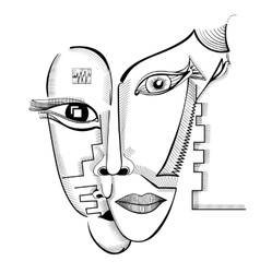 Hand drawing faces in cubism style vector image vector image