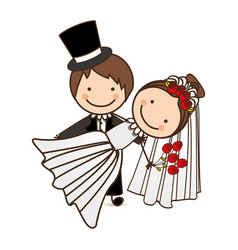 happy couple married icon vector image