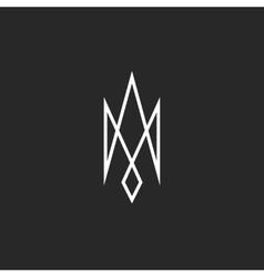 Monogram trident logo mockup creative abstract vector image