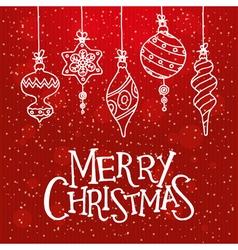 red christmas card with christmas balls vector image