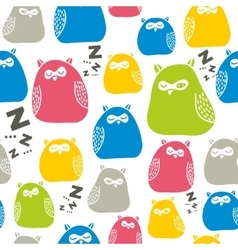 Seamless colorful pattern with cute sleeping owls vector image vector image