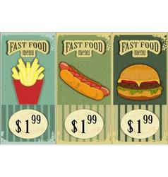 vintage fast food labels vector image
