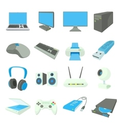 Computer equipmen icons set cartoon style vector image vector image