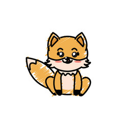 Cute fox wild animal with face expression vector