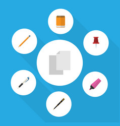 flat icon tool set of pencil pushpin notepaper vector image