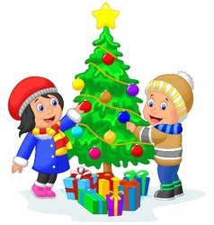 Happy kids cartoon decorating a Christmas tree wit vector image vector image