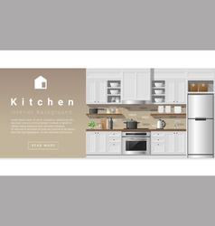 Interior design Modern kitchen background 2 vector image vector image
