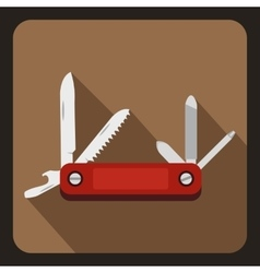 Red multifunction knife icon flat style vector