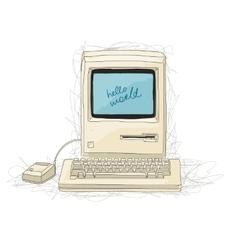 Retro computer sketch for your design vector image