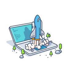 starting startup with laptop vector image vector image