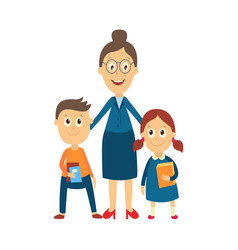 flat cartoon teacher and pupils vector image