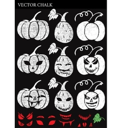 Hand Drawn Halloween Chalk Pumpkins Set vector image