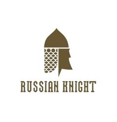 Knight head helmet with chain mail armor vector