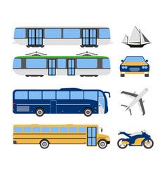 set of flat urban transport icon cartoon vector image vector image