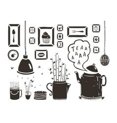 Teapot Lamp Vase Kitchen Still Life Art Frames on vector image vector image