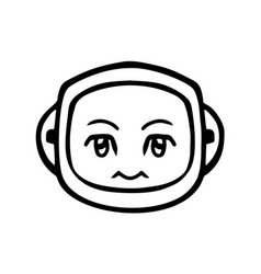 thin line silence face icon vector image vector image