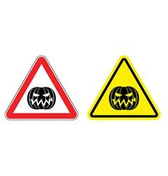 Warning sign attention Halloween Hazard yellow vector image vector image