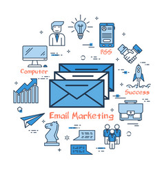 blue round email marketing concept vector image vector image