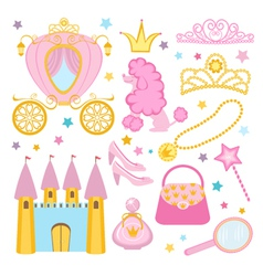 Cute princess set vector image vector image