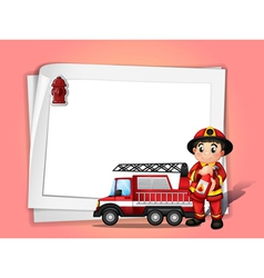 A fireman holding a fire extinguisher beside his vector image