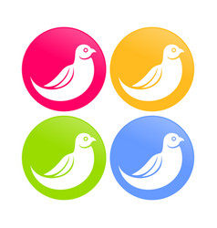 Abstract dove bird color round icons vector
