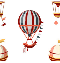 Air balloon seamless pattern retro aircraft or vector