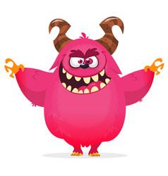 angry cartoon monster halloween pink furry monster vector image