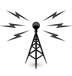 Antenna - broadcast tower icon with lightning vector