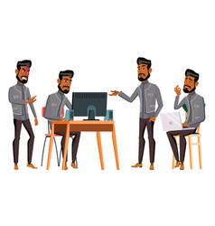 arab man office worker business set vector image