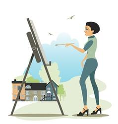 Artist drawing vector