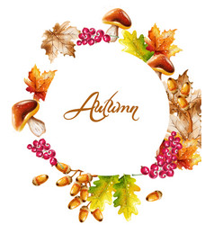 Autumn card watercolor fall harvest decor vector