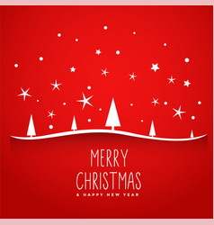 awesome red merry christmas tree background vector image