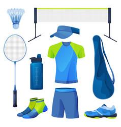 Badminton equipment sport tools set icons vector