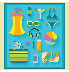 beach and summer accessories set on blue mat vector image