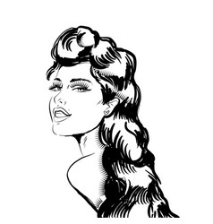 beautiful sexy woman looks back in vector image