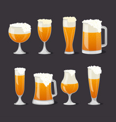 Beer mugs with foam set in cartoon style vector