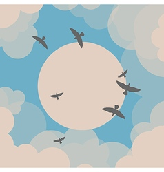 Birds flying in front of the sun vector