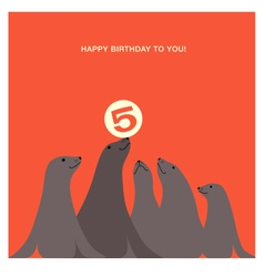 Birthday card design with sea lions vector
