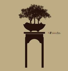 Bonsai tree silhouette of bonsai detailed image vector