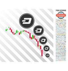 Candlestick chart dashcoin deflation flat icon vector