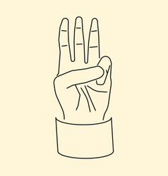 Cartoon hand showing three fingers up flat icon vector