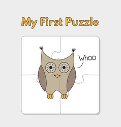 cartoon owl puzzle template for children vector image